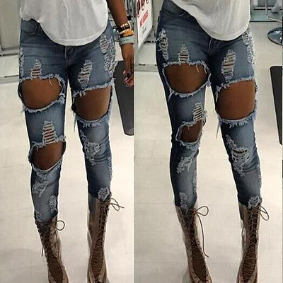 High Waist Skinny Women's Destroyed Ripped Hole Leggings Jeans