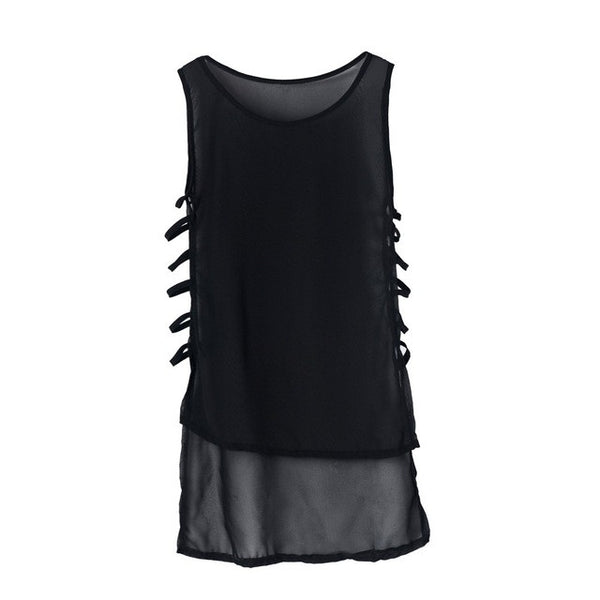 Sexy Women Casual Chiffon Sleeveless Tops  Black White