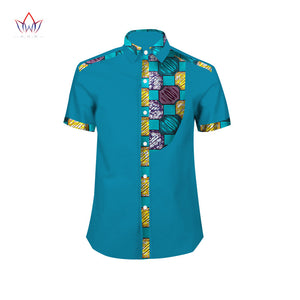 Mens African Clothing Short Sleeve Dashiki  Slim Fit 6XL