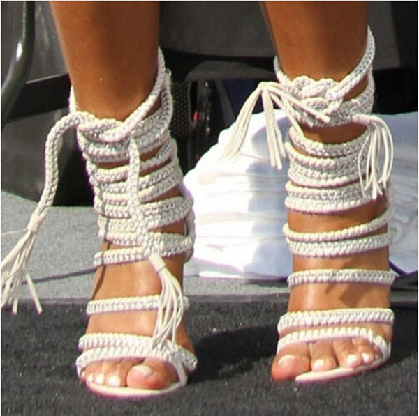 Chain Rope Lace Up Sandals High Heel Stiletto