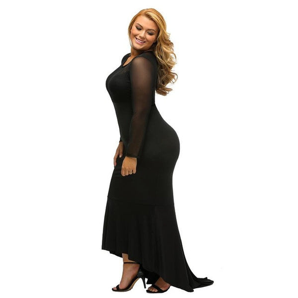 Pluz Size Long Sleeve Women Bodycon Maxi Party Hi-low Hem Mermaid Oversize Dress