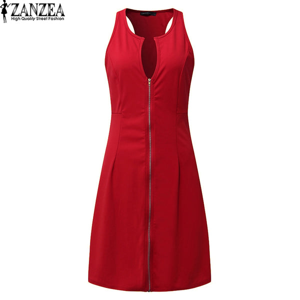 Plus Size Women V Neck A-line Zipper Oversized Knee Length Dress