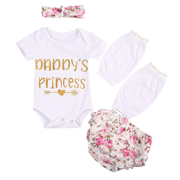 Infant Baby Girl Letter Tops Romper Floral Pants Outfit 4Pcs Set