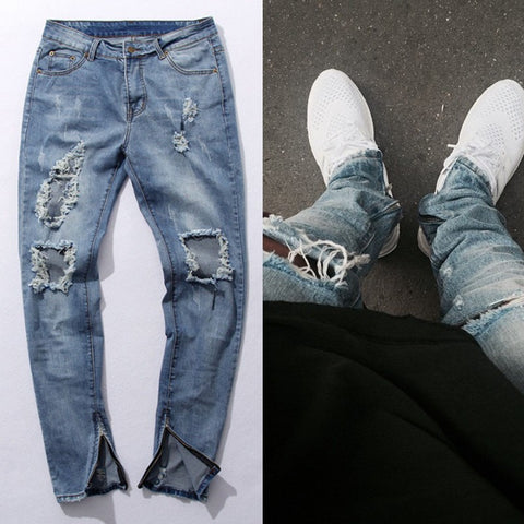 Mens Side Zipper Slim Distressed  Ripped Jeans