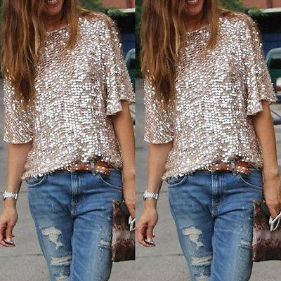Sequined Bling Shiny Top Casual Loose Shirt