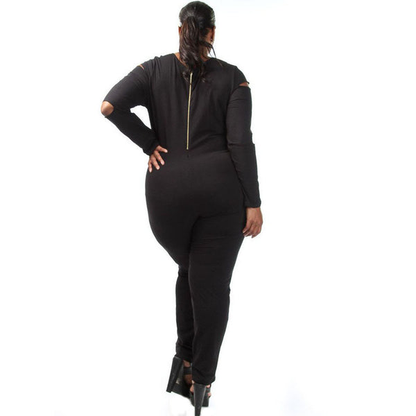 Gray and Black Plus Size Slit Long Sleeve Jumpsuit