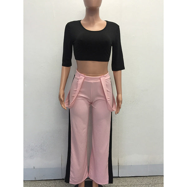 2 Piece Set Wide Leg Trousers and Quarter Sleeve T-Shirt