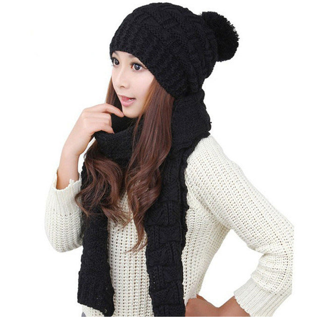 Women Warm Woolen Knit Hood Scarf Shawl Cap Set