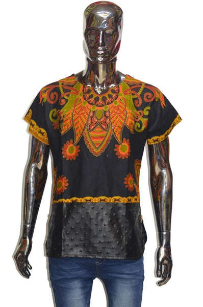African Round Collar Sleeve T-shirt