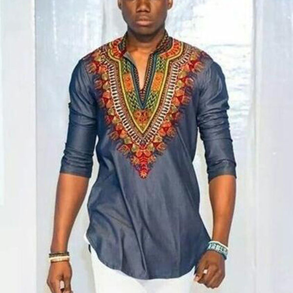 African Wind Stamp V Collar Sleeve Shirt
