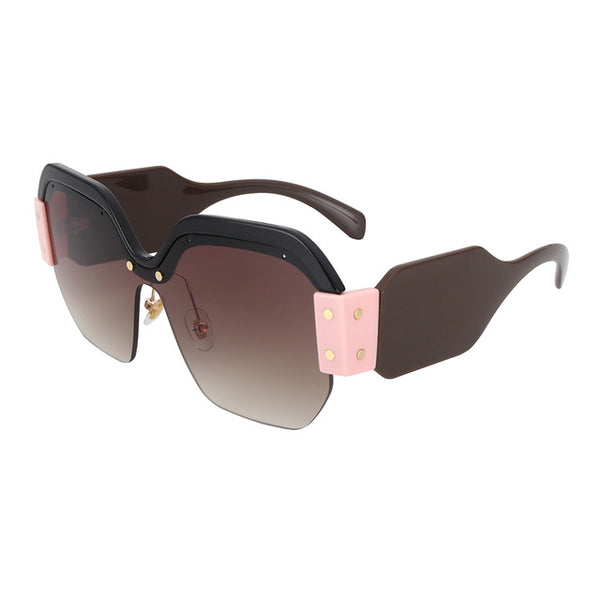 Oversized Square Retro Half Frame Pink Shades
