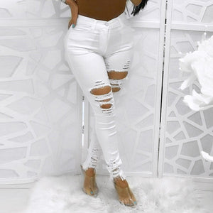 High Waisted Sexy Slim Skinny Elastic Pencil Jeans