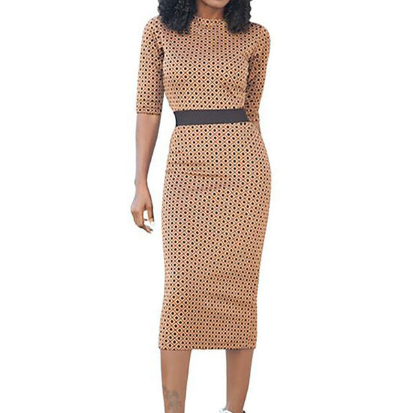 Print Split High Waist Dress