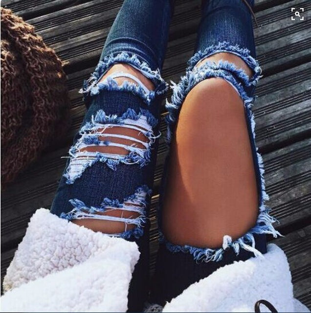 Light Blue Slim Denim Ripped Mid Waist Jeans