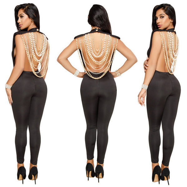 Sexy Backless Pearls Jumpsuit