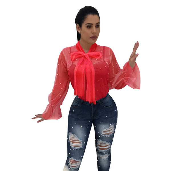 Adogirl 2018 New Sheer Mesh Pearls Women Blouses Lace Up Bow Collar Lantern Long Sleeve Casual Tops Ladies Shirt Clubwear Blusas