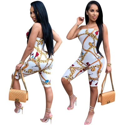 Gold Chain Tassel Print Women and Plus Size Jumpsuit