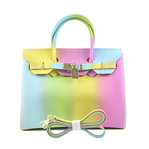 Rainbow Handbag Colorful Jelly Tote