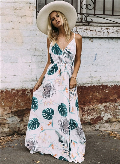 Palm Leaf Bohemian Sundress