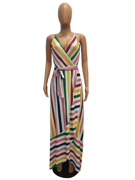 Colorful Striped Wrap Backless Dress