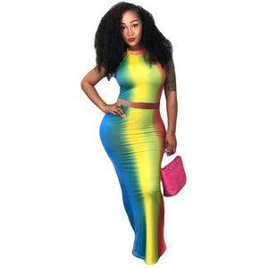 Two Piece Set Women Rainbow  Set