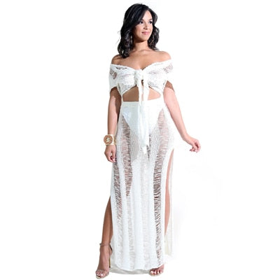 Two Piece Hollow High Slit Maxi Skirt Set