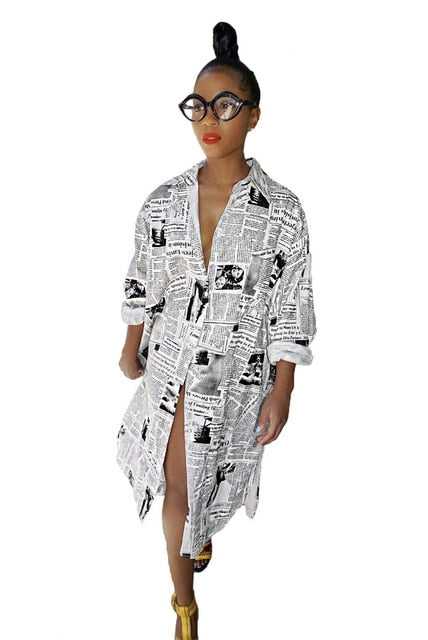 Newspaper Print Long Sleeve Shirt Dress
