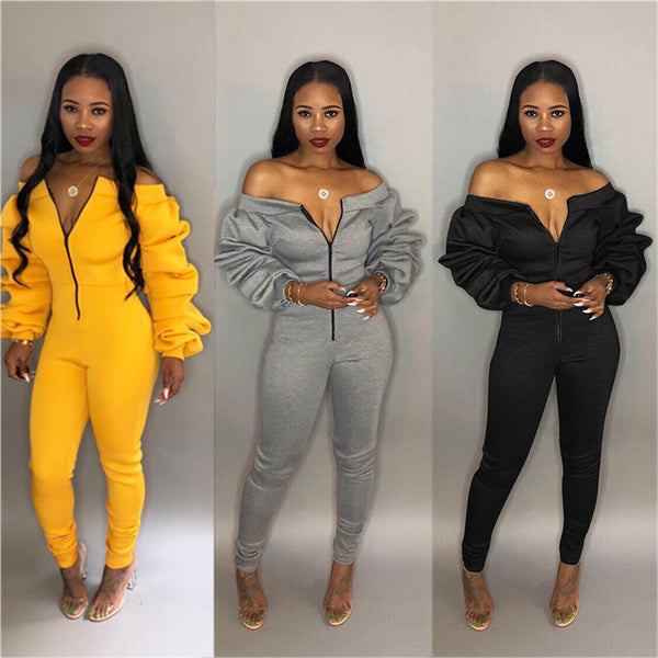 Front Slash Neck Off Shoulder Jumpsuit