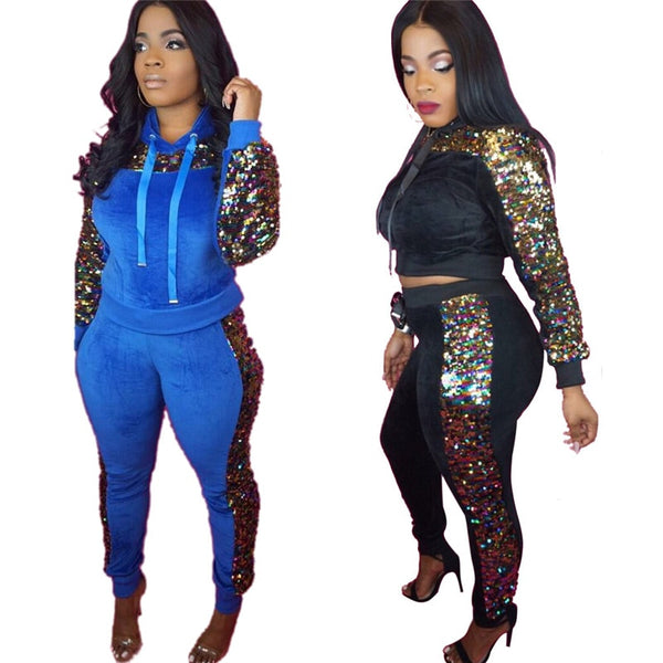 Velvet Sequined 2 Piece Set  Tracksuit