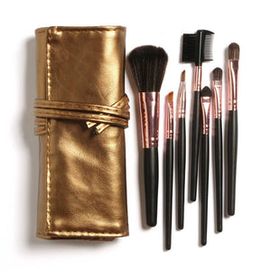 7pcs Makeup Brush Set in Sleek Golden Leather-Like Case Portable Make up Brushes