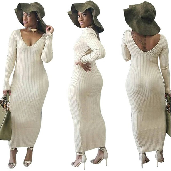 Bodycon Pencil Off-Shoulder Sweater Dress
