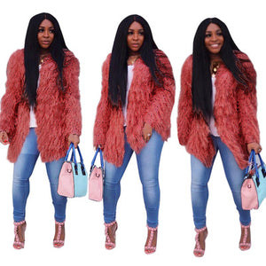 Fur Loose Outwear  Sweater Coat