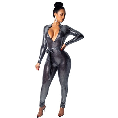 V Neck Bandage Jumpsuit