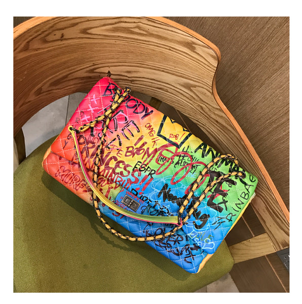 Graffiti Printed Shoulder Big Bag