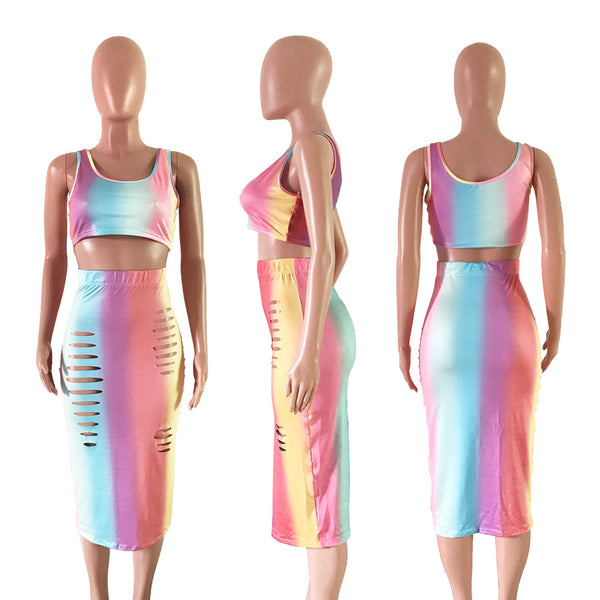 Women 2 Piece Set Crop Tank Top and Midi Skirt
