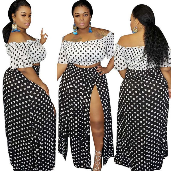 2 Piece Plus Size Polka Dots Off Shoulder Crop Top+ High Split Long Dress