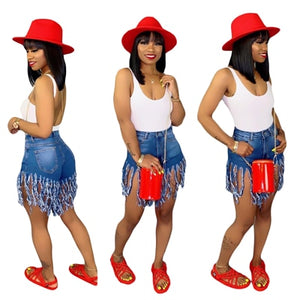 Solid Color Fringed Sanded Denim Shorts