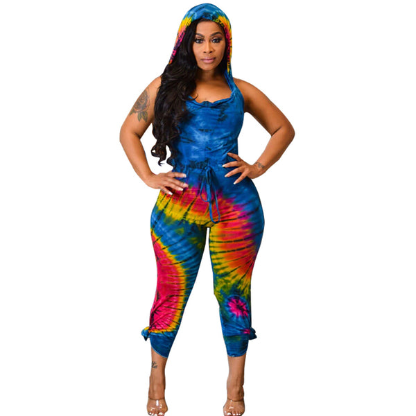 Tie Dye Print Sexy Backless Hooded Jumpsuit
