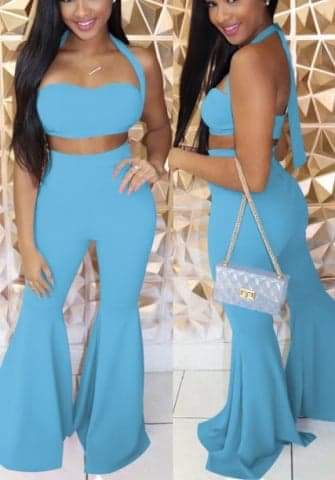 Women Solid Color Halter Tube Tops and Long Pants 2 Piece