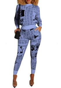 Newspaper Print Long Sleeve Round Neck Tops and Long Pants 2 Piece