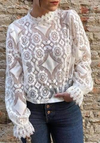 Sexy Hollow Lace Round  Neck Blouse
