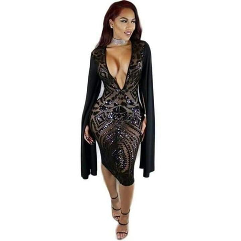 Black Bodycon Sexy Deep V Neck Slit Long Sleeve Dress