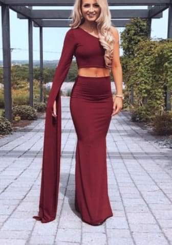 Women's 2 Piece Sexy One Shoulder Crop Top Skirt Set