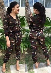 Camouflage Regular Loose Pencil pants Two Piece