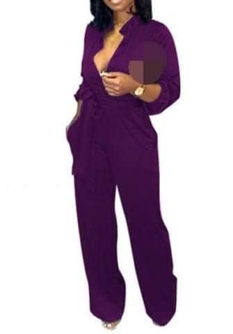 Solid Color V Neck Front Button Casual Jumpsuit with Waist  Tie