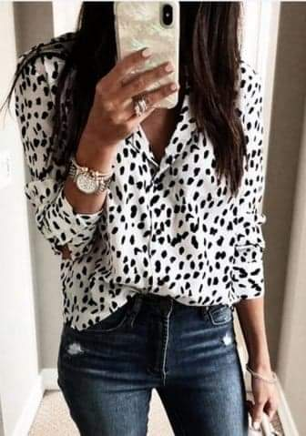 Front Casual Button  Blouse