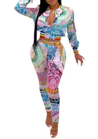 Front Zipper Colorful Long Sleeve Blazer And Long Pants 2 Piece