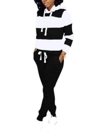 Women Striped Hoodie Top and Long Pants 2 Piece