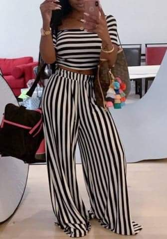 Striped Short Sleeve Crop Tops And Long Pants 2 Piece
