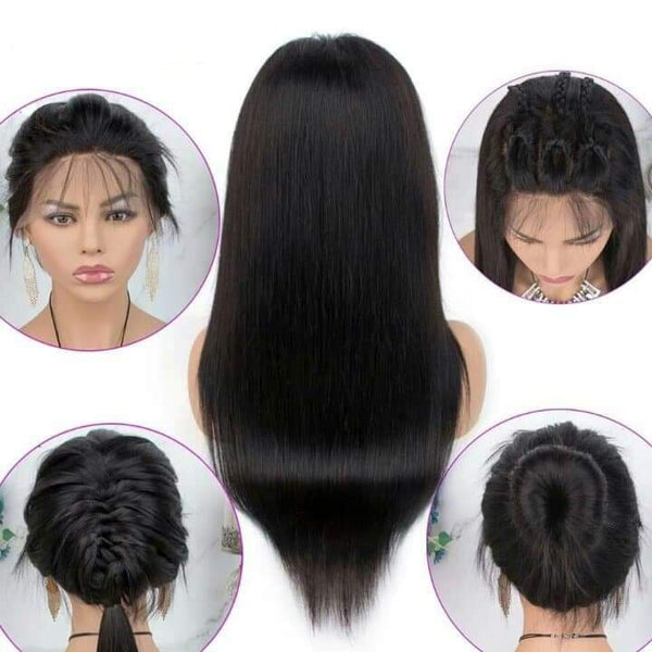 Lace Front Baby Hair Pre Plucked  Brazilian Straight Human Hair Wig